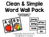 Clean & Simple Word Wall Pack (Editable!)