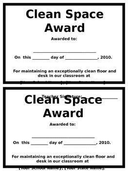 Clean Space Award Certificate