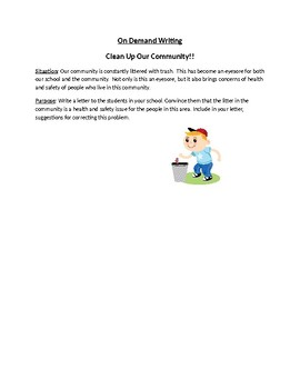 Clean Up Our Community On Demand Writing Prompt
