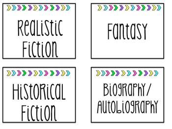 Clean and Bright Genre Library Labels