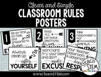 Clean and Simple Class Rules Posters