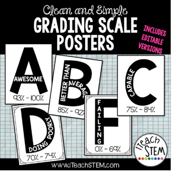 Clean and Simple Grading Scale Posters