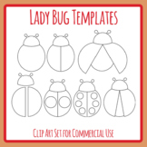 Clean and Simple Lady Bug / Ladybug Insect Templates / Outlines Clip Art