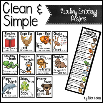 Clean and Simple Reading Strategy Posters
