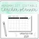 Minimalist, EDITABLE Watercolour Teacher Planner