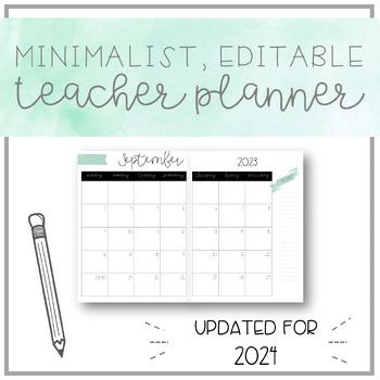Clean, minimalist, EDITABLE teacher planner - A5 SIZED