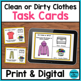 Life Skills Task Cards - Clean or Dirty Laundry (Print & Digital Boom Cards)
