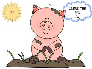 Clean the Pig /v/ Preschool Articulation Speech Therapy