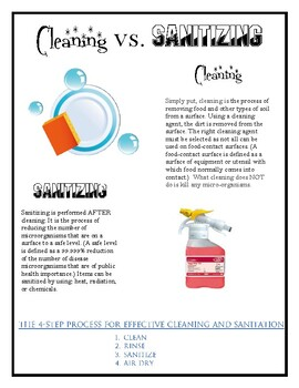 Cleaning vs. Sanitizing Handout for Culinary
