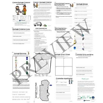 Cleaner and Garbage Collector No Prep Activity Packet and Worksheets