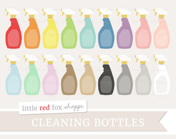 Cleaning Bottle Clipart; Spray Bottle, Supplies