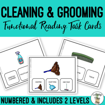 Cleaning & Grooming Supplies Functional Reading Task Clip Cards BUNDLE