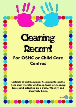 Cleaning Record Editable Document Sheet for OSHC Child Car