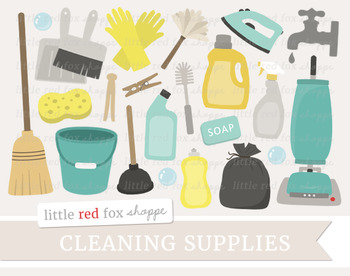 Cleaning Supplies Clipart; Broom, Vacuum Cleaner, Soap, Gloves, Bucket, Iron