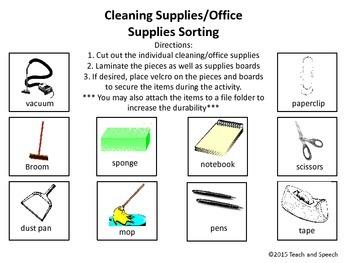 Cleaning Supply/Office Supply Sorting Task