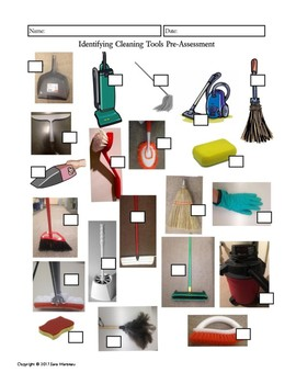 Identifying Cleaning Tools Pre-Test / Assessment