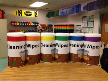 Cleaning Wipes Labeling Cards Bins Labels & Classroom Organization