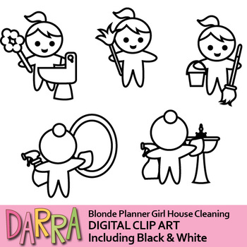 Cleaning clip art (planner girl clipart)