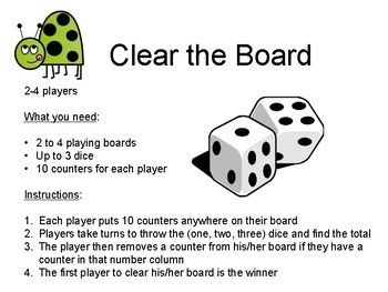 Clear The Board - Differentiated Addition Dice Game