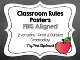 Clear and Simple Classroom Rules Posters (PBIS aligned) - Chevron theme