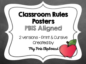 Clear and Simple Classroom Rules Posters (PBIS aligned) -