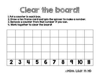 Clear the Board - Math Facts Game for Kindergarten, 1st, 2nd