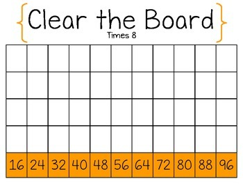 Clear the Board Times 8-Math Game