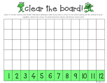 Clear the board! A Kindergarten addition and subtraction center