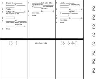 Solve Equations Clear Fractions Decimals (Foldable)