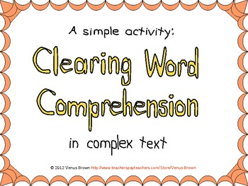 Clearing Word Comprehension in Complex Text