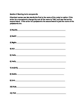Clearing up student misconceptions about writing and naming Ionic compounds