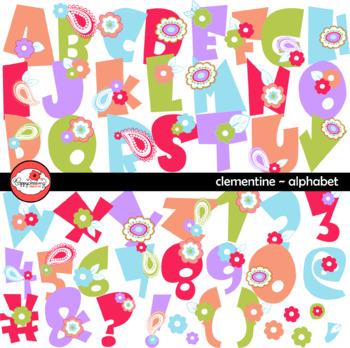 Clementine Alphabet Clipart by Poppydreamz Floral Paisley Clip Art