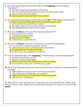 Clementine Assessment RL.3.9