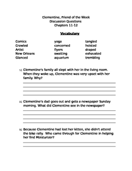 Clementine Chapters 11& 12 Questions