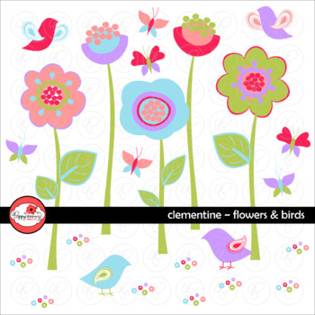 Clementine Flowers and Birds Clipart by Poppydreamz
