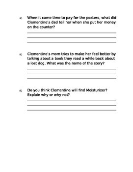 Clementine Friend of the Week Chapter 9-10 Questions