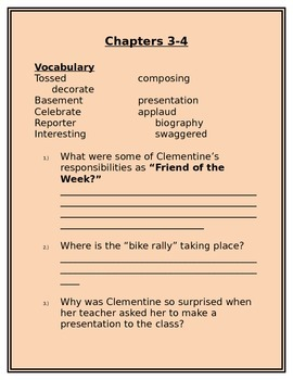 Clementine, Friend of the Week Discussion Questions Ch. 3 & 4