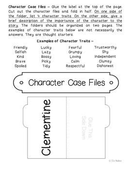 Clementine Interactive Interactive Notebook Novel Unit Study Activities