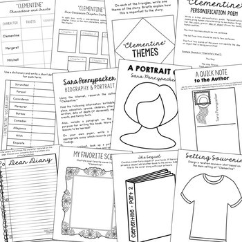 Clementine Novel Unit Study Activities, Book Companion Worksheets, Project
