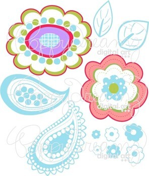 Clementine Paisley Floral Clipart and Digital Paper Set by Poppydreamz
