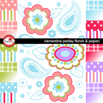 Clementine Paisley Floral Clipart and Digital Paper Set by