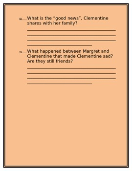Clementine:Friend of the Week Discussion Questions by Chapter 1 & 2