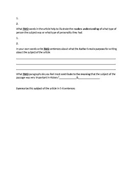 Cleopatra Biography Article and Assignment Worksheet
