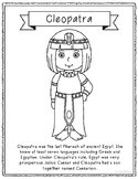Cleopatra Coloring Page Craft or Poster with Mini Biography, Egyptian, Egypt