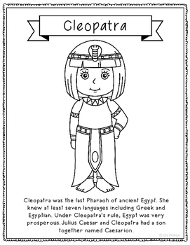 Cleopatra Coloring Page Activity or Poster with Mini Biogr