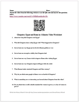 Cleopatra: Egypt and Rome in 4 Minutes Video Worksheet