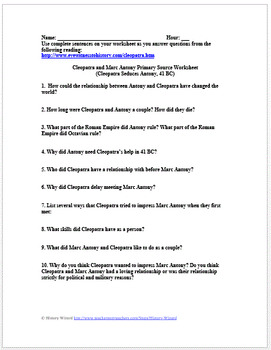 Cleopatra and Marc Antony Primary Source Worksheet