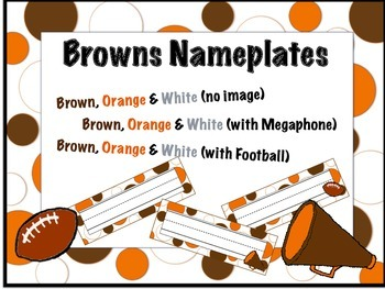 Cleveland Browns Themed Nameplates/Classroom Labels