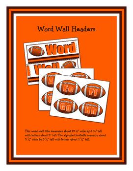 Football Classroom Essentials: Word Wall Headers, Number Line, Calendar, Borders