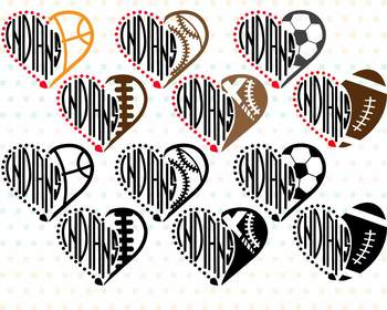 Cleveland Indians clipart NFL nba mlb ncaaf sports School svg Sayings heart 715s